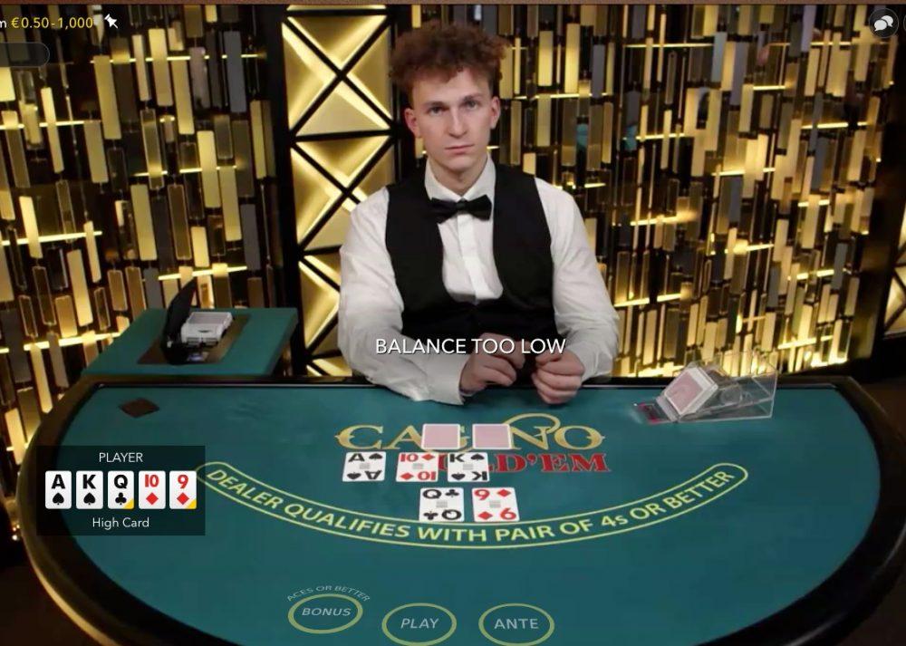 Live Casino hold'em – Pokeren voor echt geld tegen het casino