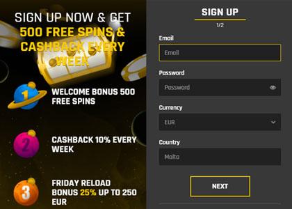 Casino Universe registreren