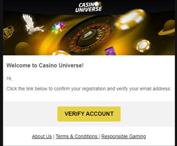 Casino Universe account activeren