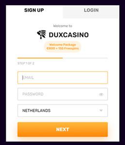Dux Casino account aanmaken