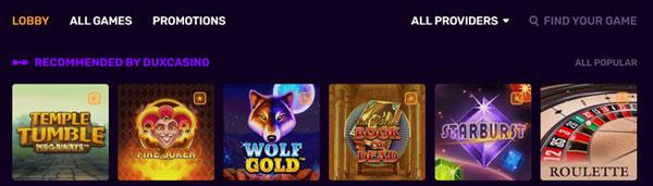 Dux Casino spelkeuze