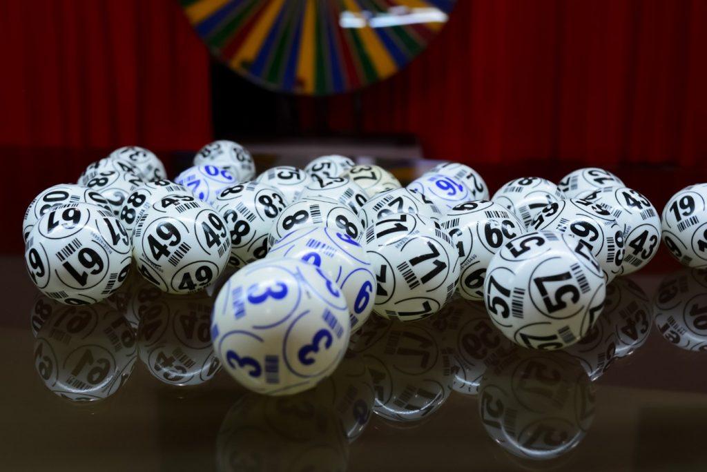 Bingo balls on a table