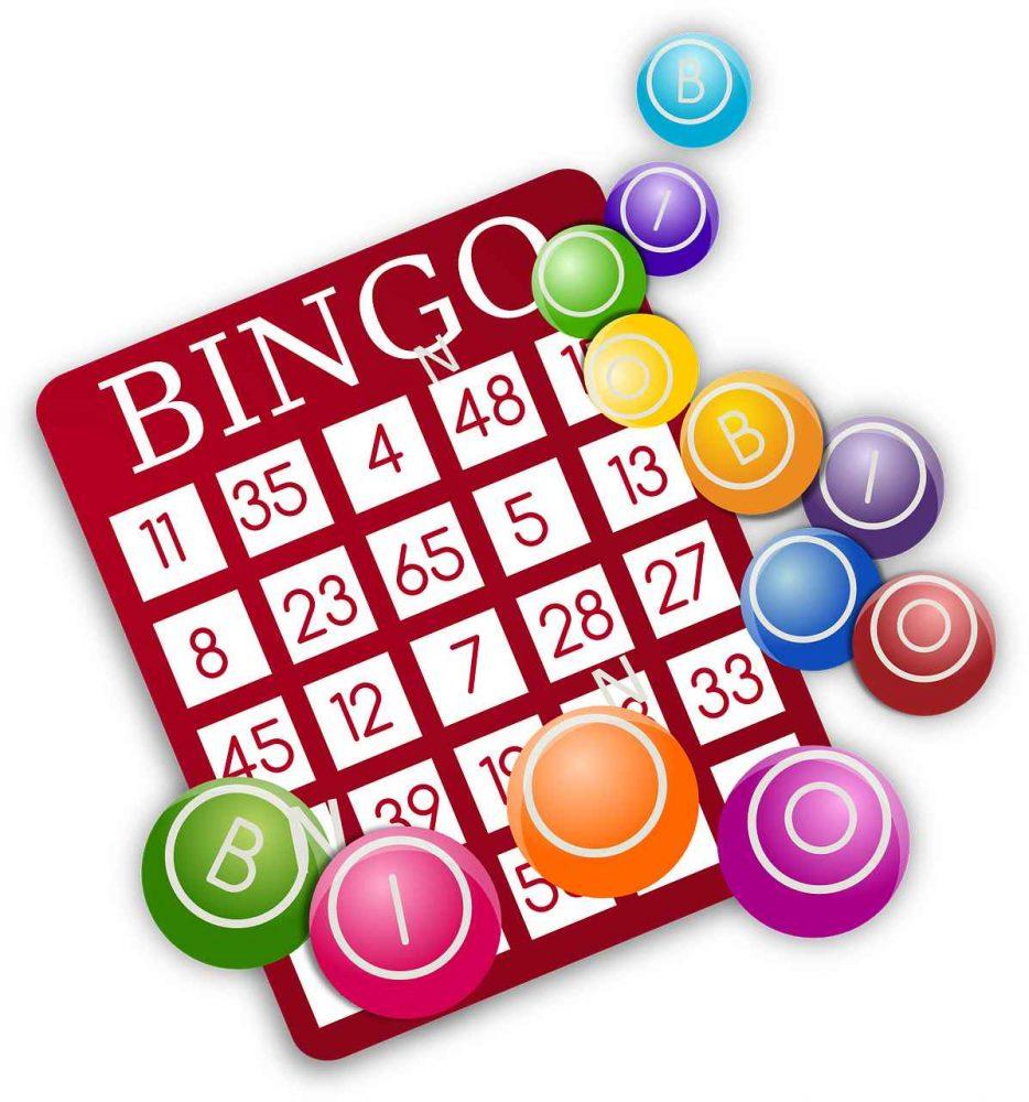 Bingo card and balls