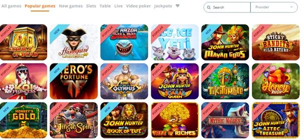 Locowin Casino Spelaanbod Screenshot