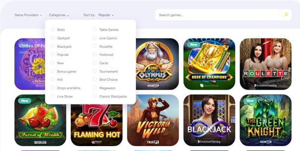 Spelaanbod van Emojino Casino